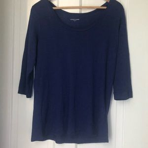 Eileen Fisher Navy Blue Scoop 3/4 Sleeve Tee